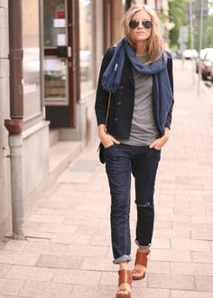 Love the dark jeans, grey tee, dark jacket and plain scarf