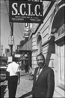 Dr. Martin Luther King, Jr. in   front of SCLC Headquarters   in Atlanta