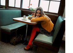orange tights with heels - playful in a sophisticated way Orange Tights, Colored Tights, Fashion Network, Orla Kiely, Diy Halloween Costumes, Fashion Beauty, Womens Fashion, Rock, Pantone Color