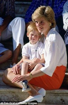 Diana, Princess of Wales and Prince Harry in Palma, Spain, on August 13, 1988