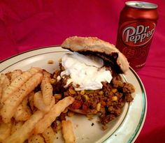 Diablo sandwich with fries and a Dr Pepper