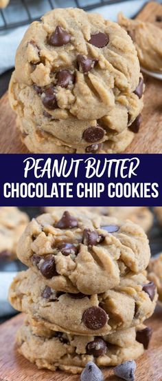 Peanut Butter Chocolate Chip Cookies are the best of both worlds: peanut butter - Chocolate Chip - Ideas of Chocolate Chip #ChocolateChip - Peanut Butter Chocolate Chip Cookies are the best of both worlds: peanut butter cookies mixed with chocolate chip cookies!