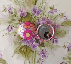 Fabric Covered Button Earrings / Purple / by ManhattanHippy
