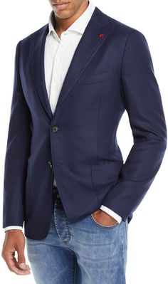 Isaia Men's Cortina Wool Blazer In Navy Mens Boots Fashion, Mens Fashion Suits, Men Style Tips, Style Men, Sports Jacket, Well Dressed Men, Ideias Fashion, Men Casual, Casual Blazer