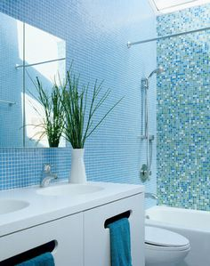 Bathroom by Ogawa Fisher Architects | blue bathroom | tiled shower | white vanity | bathroom ideas | decorating tips |