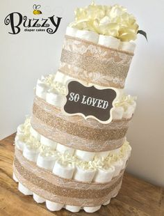Lacey Burlap Elegant Ivory Gender Neutral Diaper Cake by BuzzyDiaperCakes