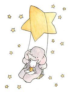 Swinging Stars and Moonbeams Nursery Art Illustration Art And Illustration, Illustration Mignonne, Watercolor Illustration, Illustrations, Illustration Children, Animal Drawings, Cute Drawings, Art Mignon, Cute Elephant