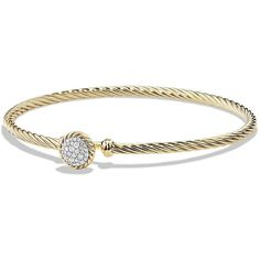 David Yurman Chatelaine Bracelet with Diamonds in Gold ($2,045) ❤ liked on Polyvore featuring jewelry, bracelets, gold, apparel & accessories, diamond bangles, 18k bangle, gold diamond jewelry, 18 karat gold bangles and 18k gold bangles