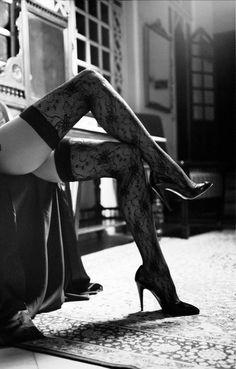 Black Lace Thigh Highs - Koray Birand