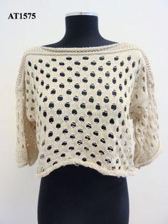 maglia in misto cotone corta con motivo a fori