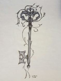 Marker Drawing of Skeleton Key with hearts by BeardedCreations4u