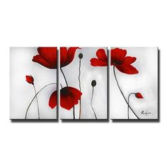 Ode-Rin - Hand Painted Oil Painting on Canvas Red Blooming Flowers Framed and Stretched 3 Pieces Lonely Floral Wall Art Painting for Living Room Home Decor, Ready to Hang - x 3 Panels) Oil Painting Gallery, Oil Paintings, Floral Paintings, Painting Flowers, Flower Artwork, Red Flowers, Blooming Flowers, Simple Flowers, Red Poppies