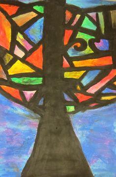 Art is Basic-- Art Teacher Blog: Abstract Oil Pastel Trees-- 4th/5th grade