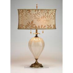 Laura Table Lamp, Kinzig Design, Colors Latte, Cream, Blown Glass, Silk Shade, Artistic Artisan Designer Table Lamps