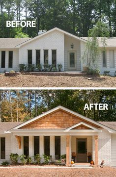 House Remodel Before And After Mid Century 20 Ideas Fo.Exterior House Remodel Before And After Mid Century 20 Ideas Fo. Ranch Home Exterior Remodel With Faux Stone Panels Home Exterior Makeover, Exterior Remodel, House With Porch, House Front, Renovation Facade, Ranch House Remodel, House Makeovers, Plans Architecture, Living Room Remodel