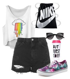 """""""Summer outfit"""" by magicalunicornfluff on Polyvore featuring Mode, NIKE, Topshop, Vans und ban.do"""