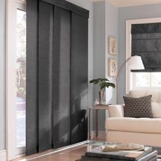 Silk Track window coverings for the patio doors in Molten Lead