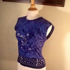 NWT Star and Moon Blue Tie Dye Top New with tags Patrice Tops Blouses