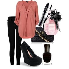 Go anywhere outfit: Long loose blouse in a nice fabric, flattering dark trousers or jeans, comfortable yet classy black wedges.