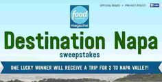 Food Network Magazine is going to give one lucky winner and a guest a fantastic vacation in Napa, with airfare, hotel &they're throwing in $1500 CASH to spend! (- see the official rules … Official Rules, Win A Trip, Food Network Recipes, Magazine, Vacation, Vacations, Magazines, Holidays Music, Holidays