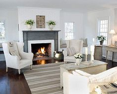 Source Unknown {white country rustic modern living room}