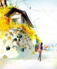 By Kim Ji Hyuck (Hanuol).  I wish I could be her, walking along that street and looking up over that rock wall.