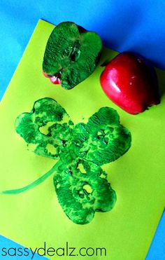 A shamrock apple stamp makes a simple craft for St. Patrick's Day.
