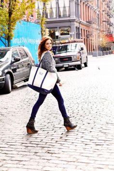 Stephanie LaCava:    rag & bone jeans, Balenciaga sweater, Ann Demeulemeester wedges, L.L.Bean tote, Pamela Love necklaces.