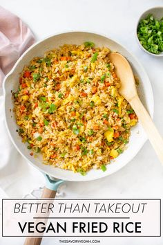 Vegan Fried Rice - This Savory Vegan - - Vegan Fried Rice is not only super easy to make it is also SUPER tasty. With a few easy swaps you can have a better than take-out vegan meal at home. Rice Recipes Vegan, Shrimp And Rice Recipes, Rice Recipes For Dinner, Whole Food Recipes, Vegetarian Recipes, Vegan Food, Cake Recipes, Fried Rice Recipe Chinese, Vegan Fried Rice