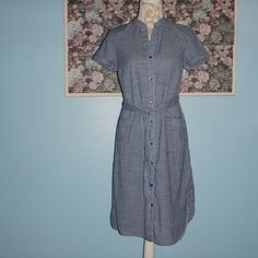 Old Navy Classic Shirt Dress Checked GIngham Blue White Belted Women's Sz Small #OldNavy #ShirtDress #Casual