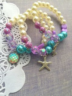 SET of TEN, Mermaid party favor, starfish bracelet, kids jewelry, mermaid bracelet, Mermaid birthday