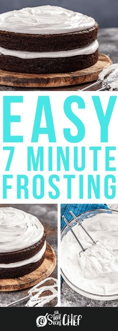 7 Minute Frosting is light and fluffy and has the perfect bright white color. This meringue-like frosting will practically melt in your mouth and it takes less than 10 minutes to make. Icing Recipe, Frosting Recipes, Cupcake Recipes, Dessert Recipes, Chef Recipes, Cupcake Frosting, Cake Icing, Eat Cake, Cupcake Cakes