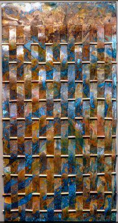"""Blue Waterfall Weaving #4, copper wall art, 40"""" x 12"""" x 1"""""""