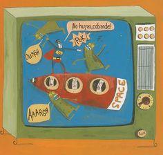 Ilustracióne de Albertine para la obra SOS Televisión, de Germano Zullo.