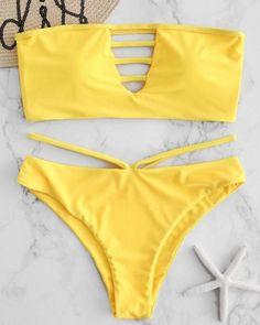 Lattice High Cut Bandeau Bikini Set - Bra and Bikinis Bandeau Outfit, Bandeau Bikini Set, Bikini Outfits, Bikini Bottoms, Cute Swimsuits, Cute Bikinis, Women Swimsuits, Swimwear Fashion, Swimwear Sale
