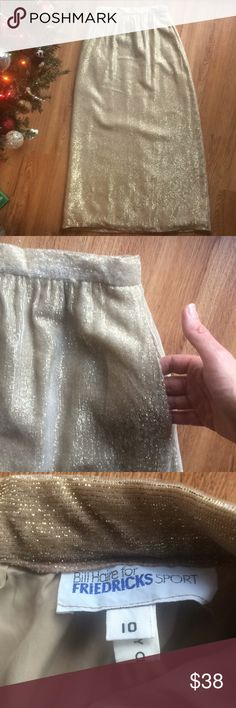 "Vintage 70s skirt maxi metallic textured pockets S Designer Bill Haire for Firedricks Sport Vintage 70s maxi skirt gold metallic textured/ribbed fabric much like a plush courderoy. Fully lined. Working side pockets. Waist 27"" Length 40"" Size S Skirts Maxi"