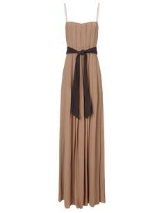 Camel Black Long Pleated Dress | L'Agence | Avenue32
