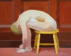 Euan Uglow - Curled Nude on a Stool