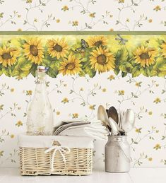 Norwall Wallcoverings Fresh Kitchens 5 Die Cut Sunflower Wallpaper Border Yellow, Green - The Savvy Decorator Kitchen Wallpaper, Wall Wallpaper, Brown Granite Countertops, Sunflower Wallpaper, Borders For Paper, Floral Theme, Living Room Kitchen, Kitchen Colors, Cool Kitchens