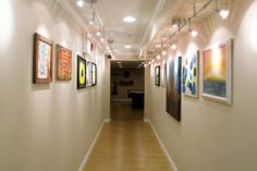 Sleek lighting highlights beautiful artwork in a hallway at Clarity Way.