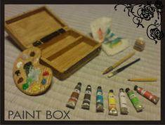Miniature dollhouse paint box by Yuki-Myst on deviantART Modern Dollhouse, Miniature Dollhouse, Miniature Rooms, Diy Dollhouse, Dollhouse Furniture, Diy Doll Miniatures, Vitrine Miniature, Pallet Painting, Miniature Crafts