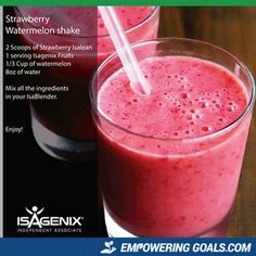 strawberry watermelon shake is a complete meal replacement using the products Isalean shake and Isagenix fruits. Watermelon Shake, Watermelon Smoothies, Strawberry Banana Smoothie, Apple Smoothies, Healthy Smoothies, Healthy Foods, Healthy Breakfasts, Breakfast Smoothies, Protein Shake Recipes