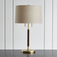 Owen Matte Brass Table Lamp with Brown Leather - Crate and Barrel