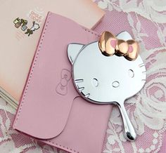 NEW Top Quality Silver Hello Kitty Handheld Make Up Mirror Rose gold bowknot #HelloKitty