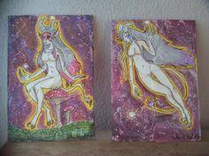 """títulos """"Fauna"""" , """"fauna soñadora"""" realizadas en lienzos de material reciclado tecnica mixta"""