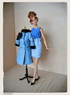 Barefoot in the Park: Poppy Parker as Corie Bratter Blue Brown, Green And Grey, Gray, Barefoot In The Park, Jane Fonda, Barbie Clothes, Dollhouse Miniatures, Poppies, The Incredibles