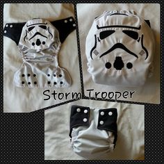 Star Wars Storm Trooper on the bum of a pocket cloth diaper, cloth diaper cover, or disposable diaper cover for your little one. This can me made