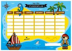 Stundenplan - Stundenplan Pirat, laminiert, abwischbar - ein Designerstück von Jungs-und-Soehne bei DaWanda Control, Planer, Kindergarten, Ships, Fall, Third, Pray, Unit Plan, Entering School