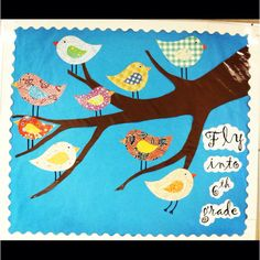 """Back to school Bulletin board! Or you could say """"come soar with me through a new year in __?__ grade!"""