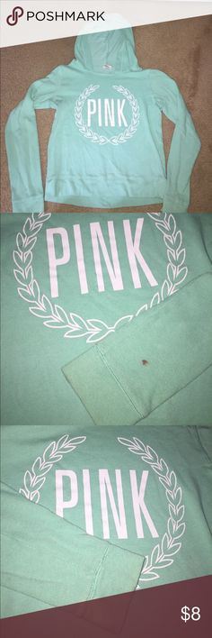 PINK pullover Mint green pullover from PINK with hoodie. Please be aware that it is quite worn and has a red paint spot/bleach stain and piling! PINK Victoria's Secret Tops Sweatshirts & Hoodies